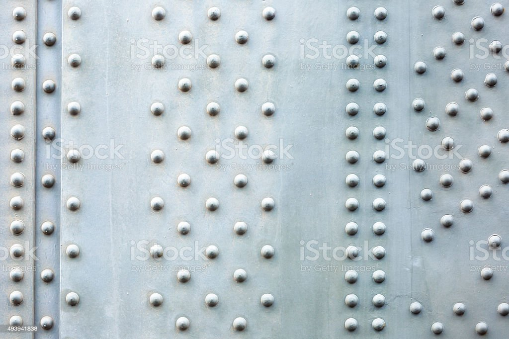 Steel plate background, closeup bridge steel beam with bolts stock photo