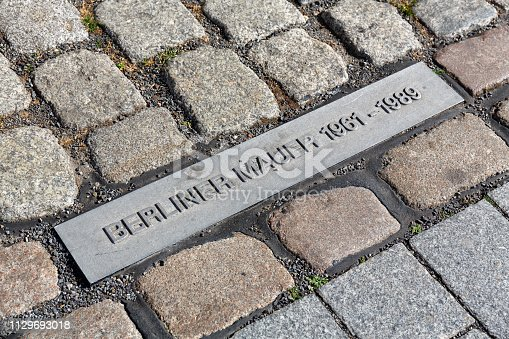 Steel plate with Berliner Mauer (Berlin Wall) 1961-1989 writing on a cobblestoned street in Berlin