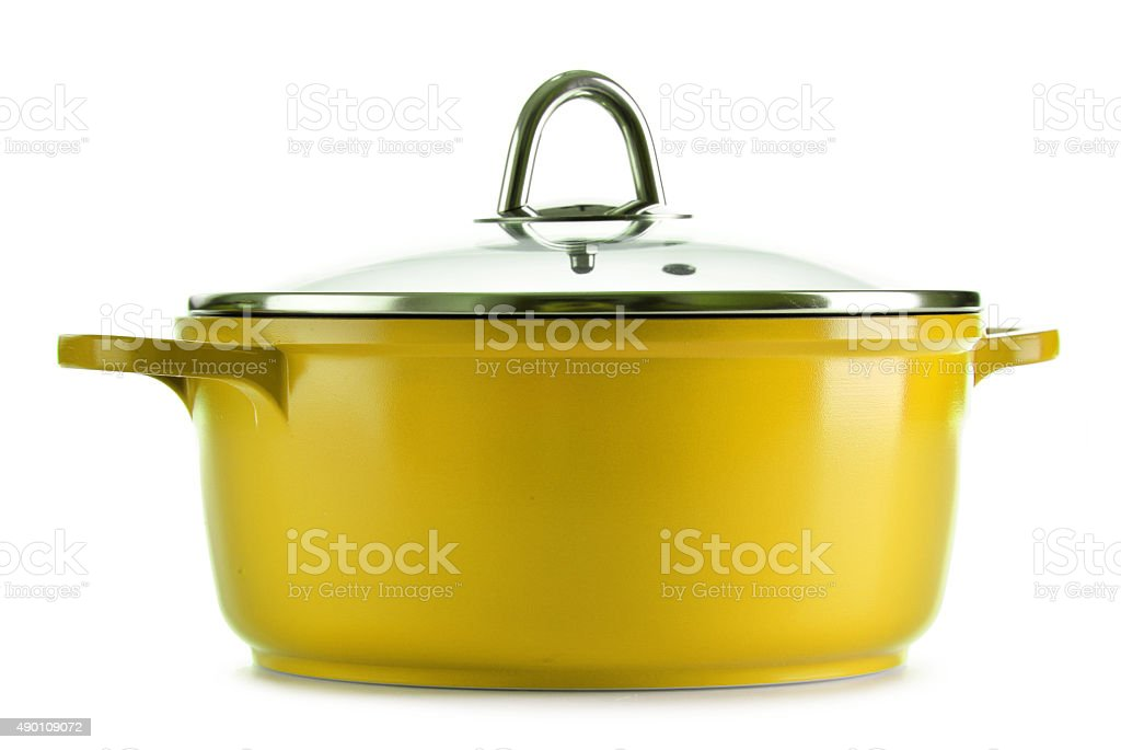 Steel pot isolated on white background stock photo