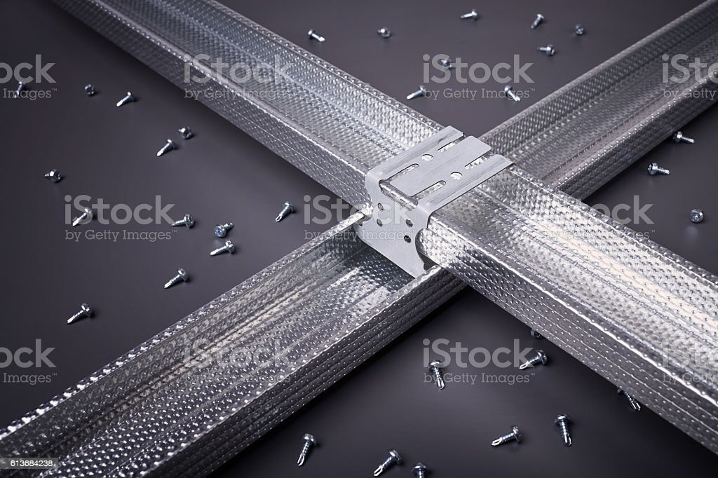 Steel profile for construction work stock photo