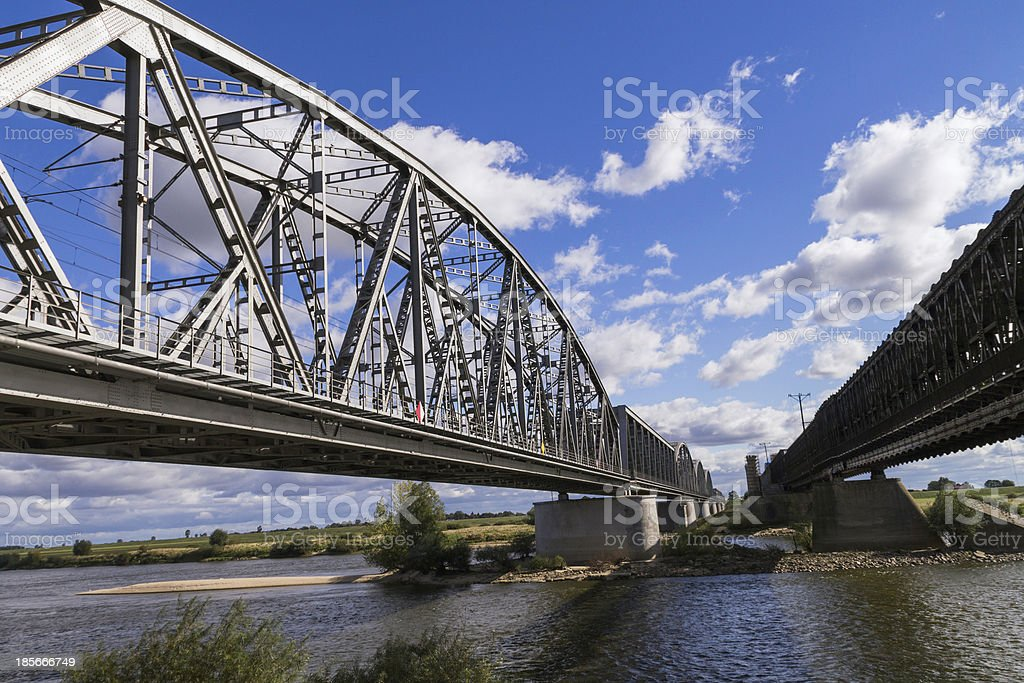 Steel railroad bridge over the river Wisla in Tczew stock photo