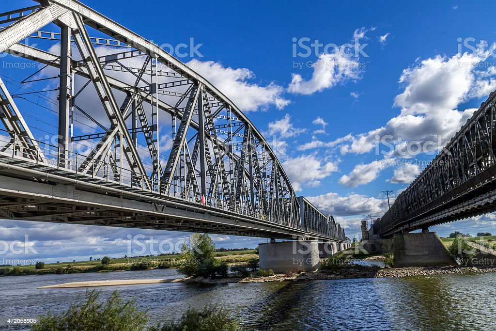 Steel railroad bridge stock photo