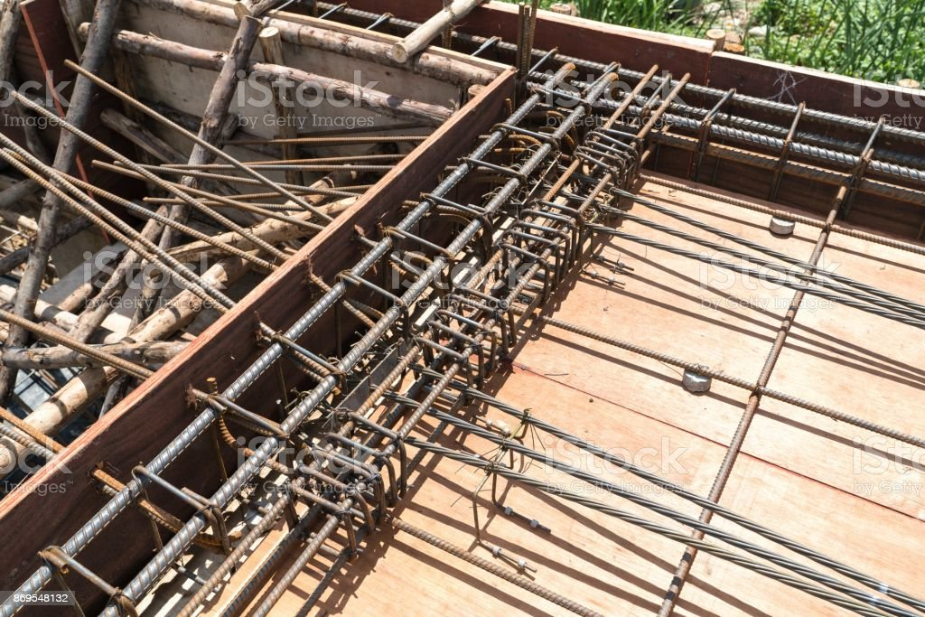 Steel Rebar Reinforcement In Post Tension Slab Concrete In