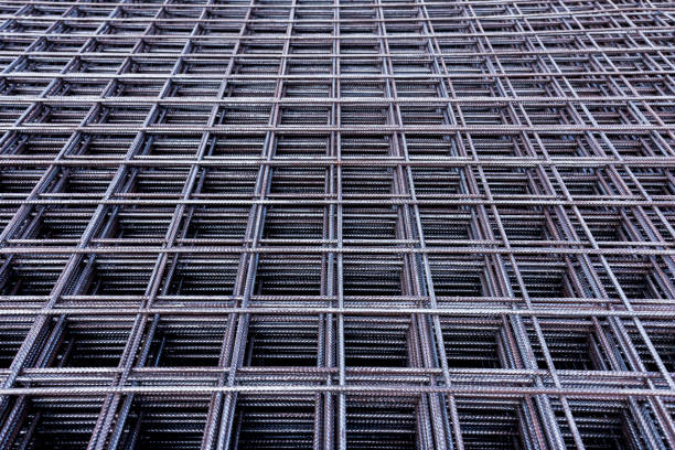 Steel Rebars for reinforced concrete.steel reinforcement bar texture in construction site. stock photo