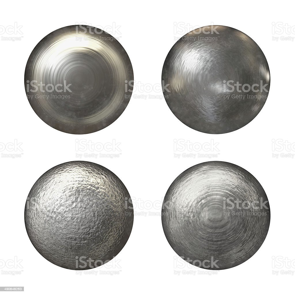 Steel rivet heads collection stock photo