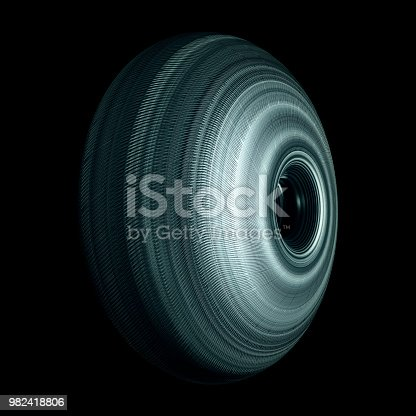 istock Steel Roller Wheel Isolated On Black Background 982418806