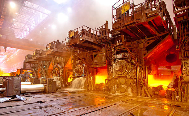 Steel rolling workshop stock photo
