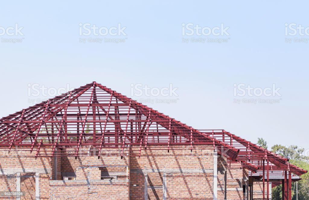 Steel roof frame structures stock photo