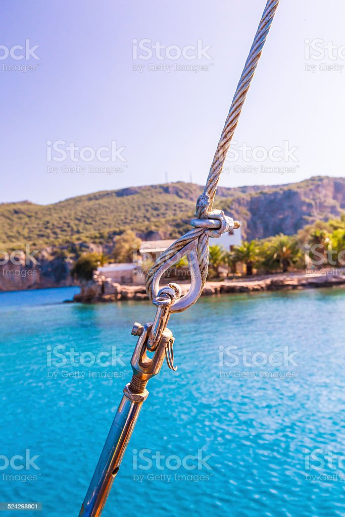 Steel Rope in sailing yacht stock photo