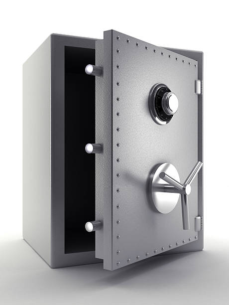 Steel safe Half open steel safe isolated on white. High resolution 3D rendering. safe security equipment stock pictures, royalty-free photos & images