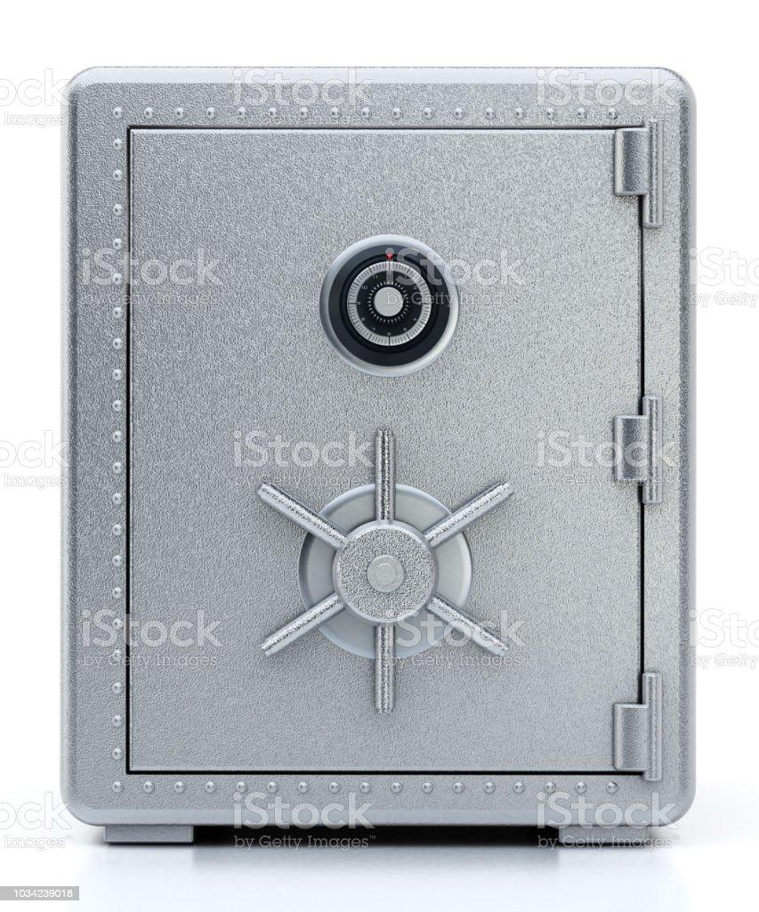 Stahl mit geschlossener Tür isoliert auf weiss sicher – Foto