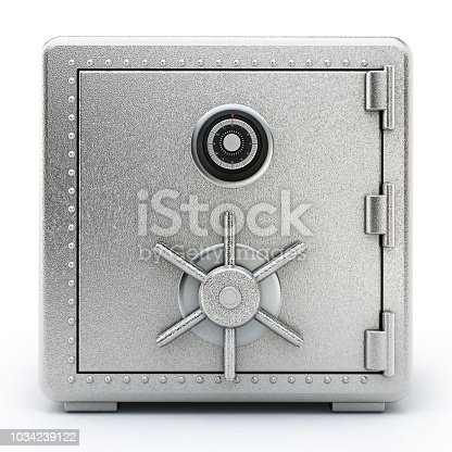 Steel safe with closed door isolated on white.