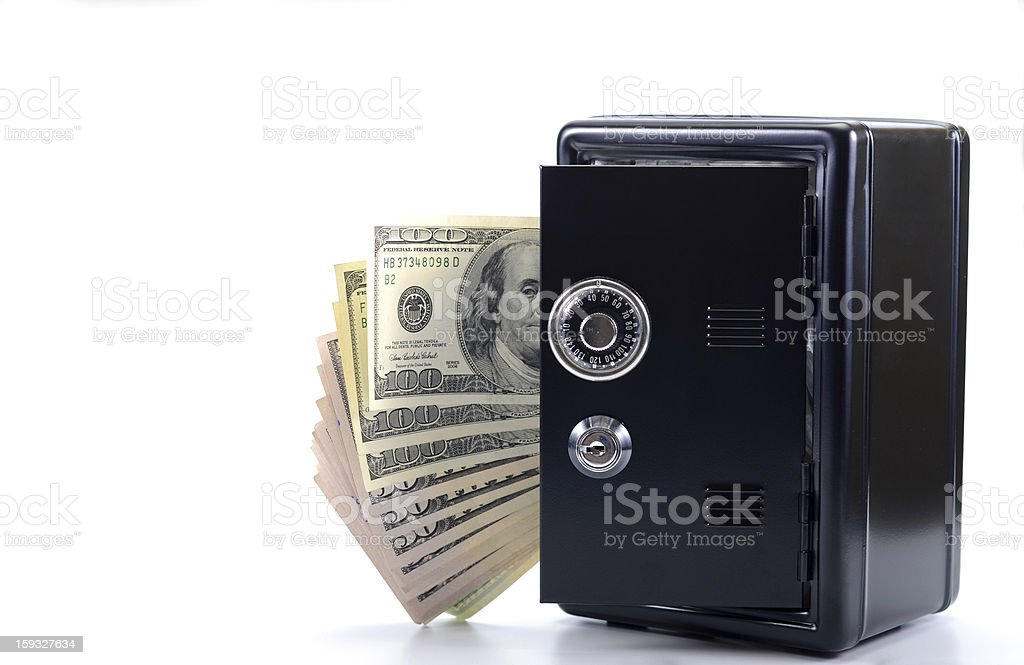 Steel safe with money royalty-free stock photo