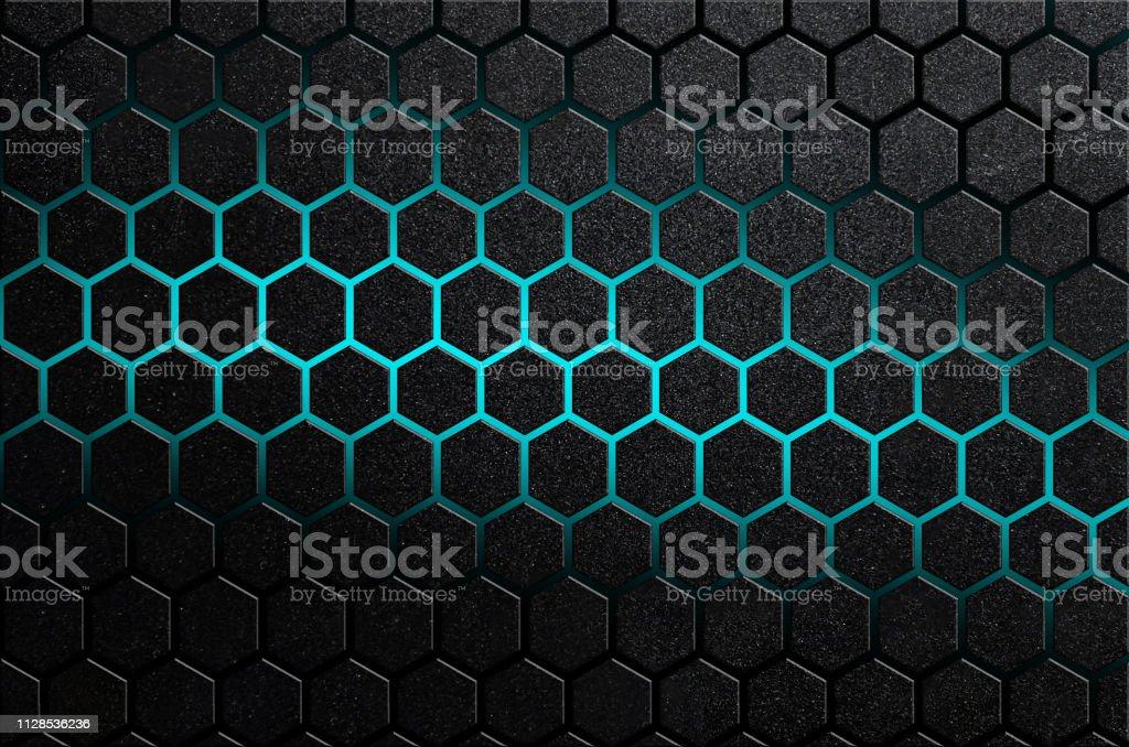 Rayures en acier à six pans creux abstrait de raies brillantes de couleur bleus de design futuriste minimal - Photo