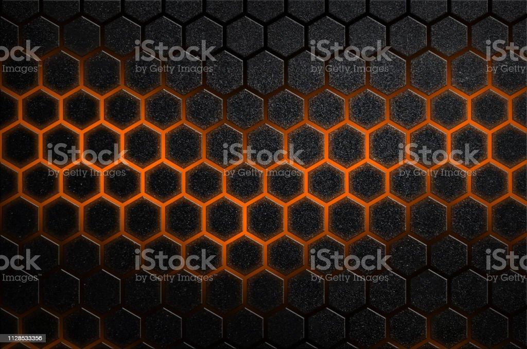Rayures en acier à six pans creux abstrait de raies brillantes de couleur orange de design futuriste minimal - Photo