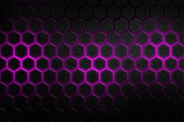 Rayures en acier à six pans creux abstrait de raies brillantes de couleur violets de design futuriste minimal - Photo