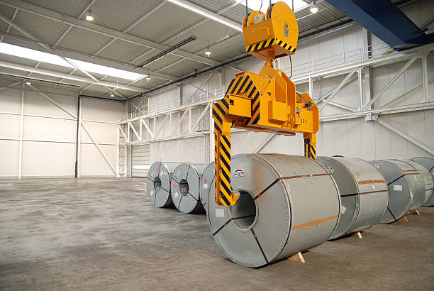 Steel sheet rolls stock photo