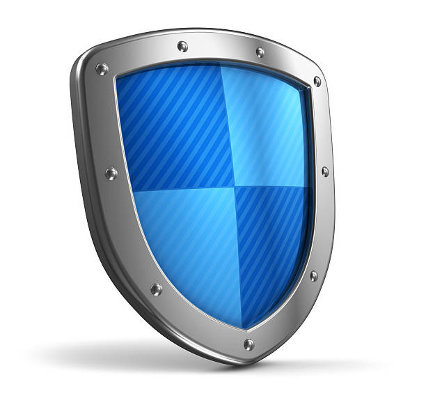 A steel shield with blue pattern stock photo