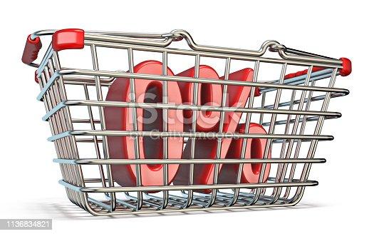511190632istockphoto Steel shopping basket 0 PERCENT sign 3D 1136834821