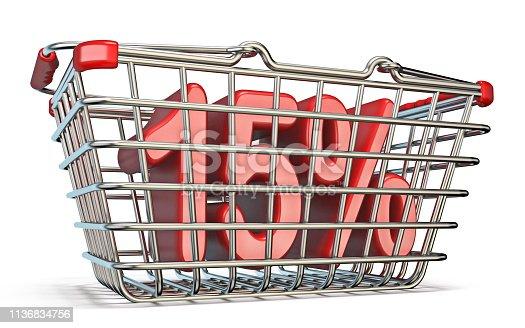 511190632istockphoto Steel shopping basket 15 PERCENT sign 3D 1136834756