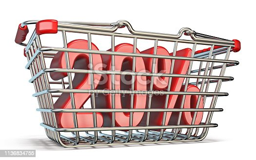 511190632istockphoto Steel shopping basket 20 PERCENT sign 3D 1136834755