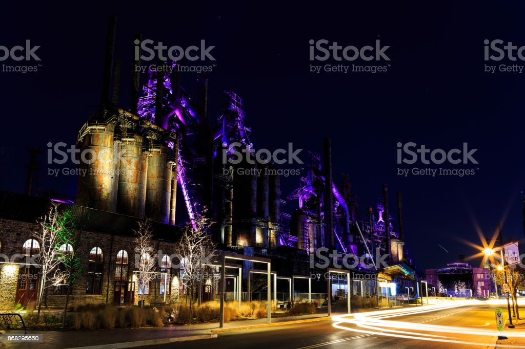 Steel stacks with purple and yellow lighting as entertainment area in downtown Bethlehem Pa. stock photo