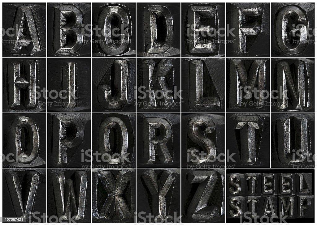Steel Stamp Complete Alphabet stock photo