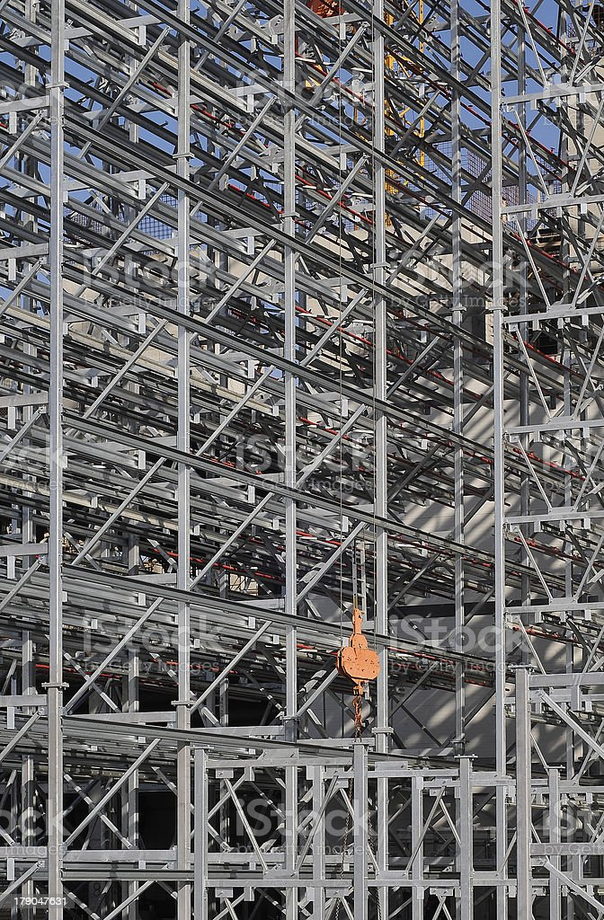 Steel structure of a high rack warehouse  during construction royalty-free stock photo