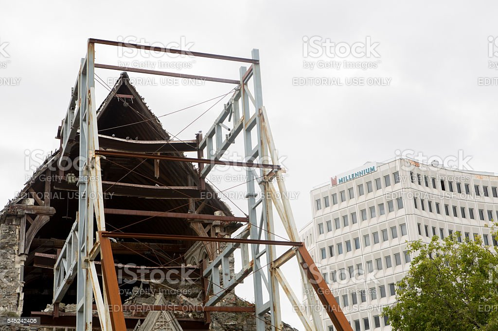 Steel structure supports the facade of the Christchurch cathedral stock photo