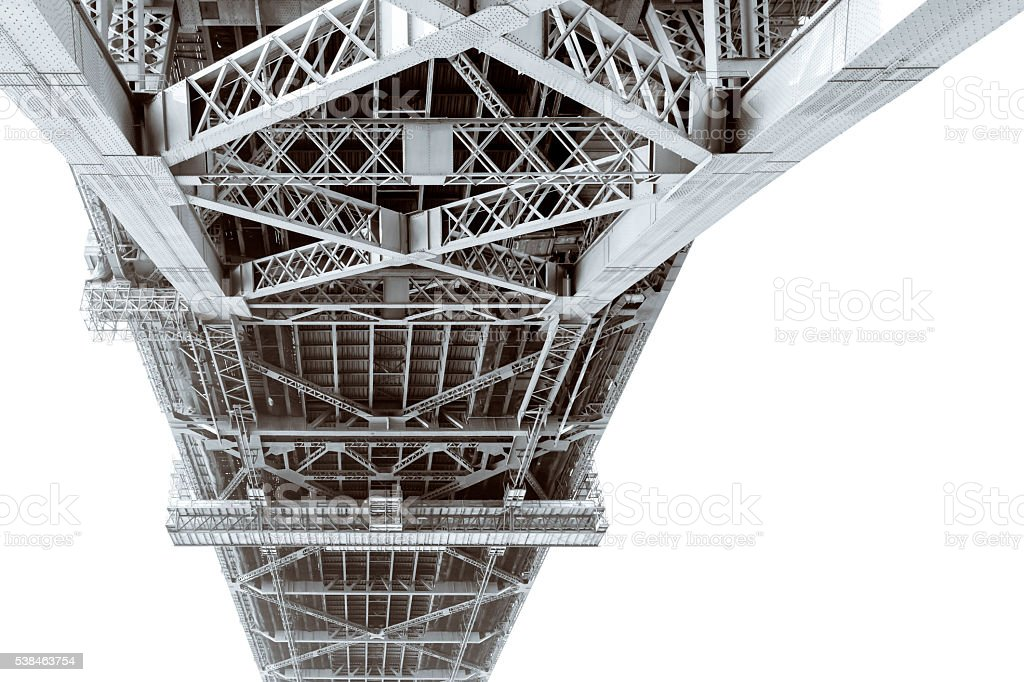 Steel structure under the Harbour bridge, white background, copy space stock photo