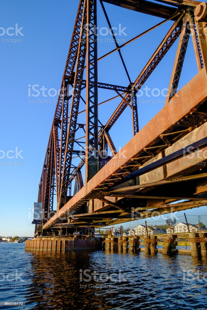 Steel Swing Bridge Along A Railway Trestle stock photo