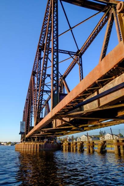 Steel Swing Bridge Along A Railway Trestle stock photo