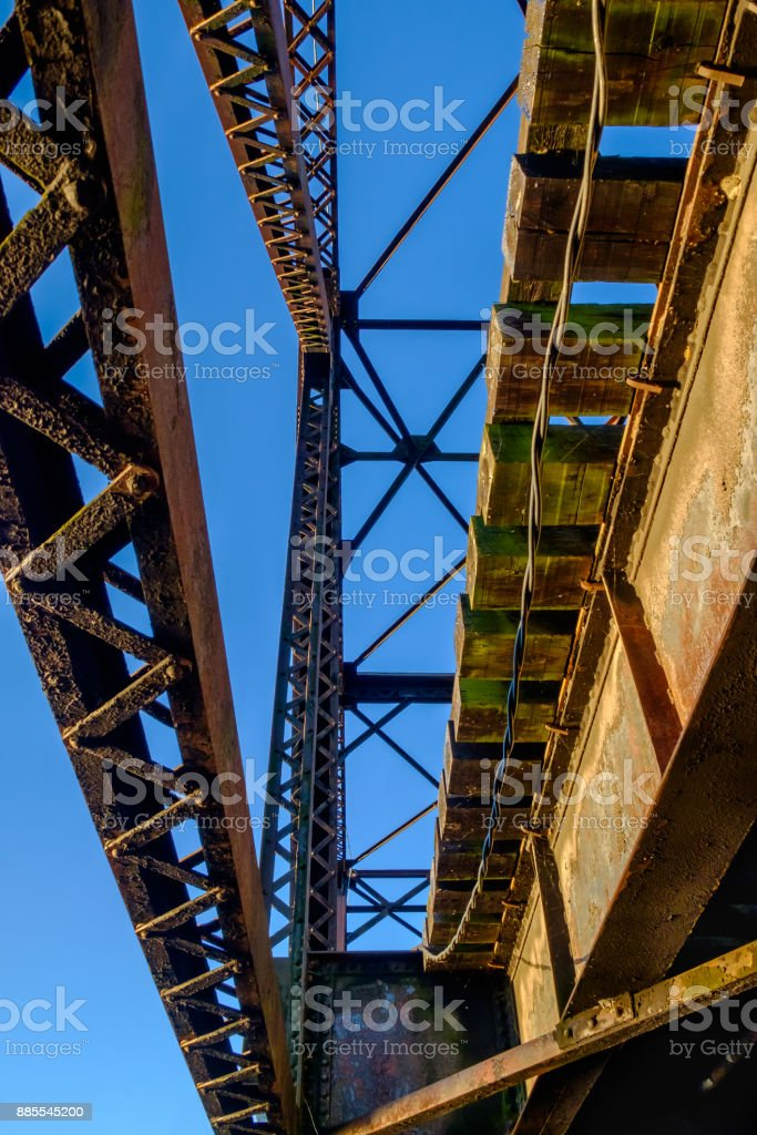 Steel Swing Bridge, Looking Up stock photo