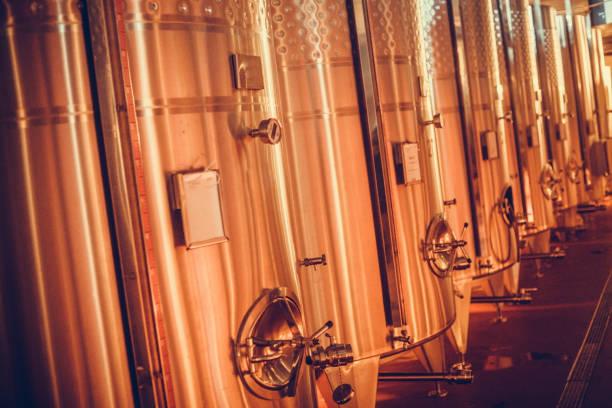Steel tanks in a wine cellar stock photo
