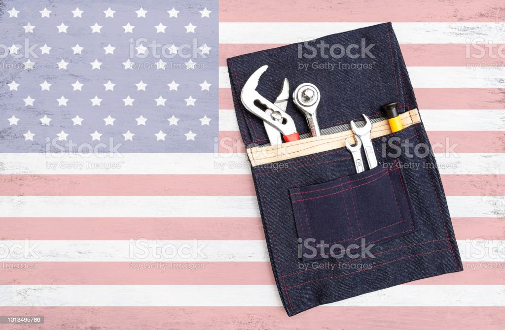 Steel Tools In Design Pocket Tool Bag On Abstract Usa Flag Background Stock Photo Download Image Now Istock