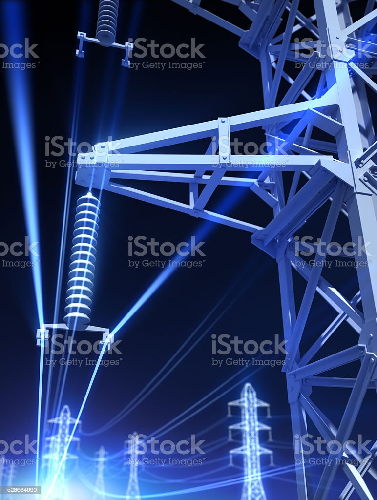 Steel towers and high voltage stock photo