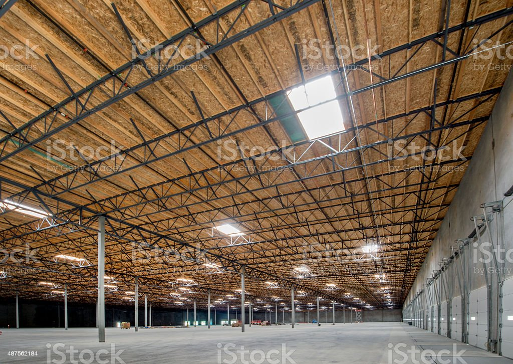 Steel Truss Roof for Large Warehouse stock photo