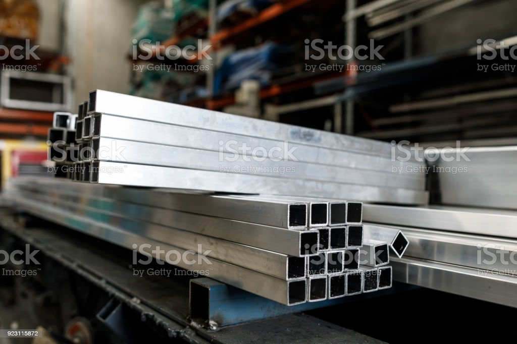 Steel Tubes At Metal Work factory stock photo