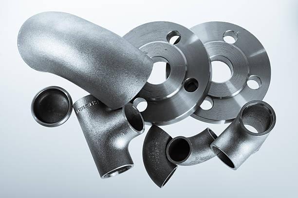 Steel welding fittings on group. stock photo