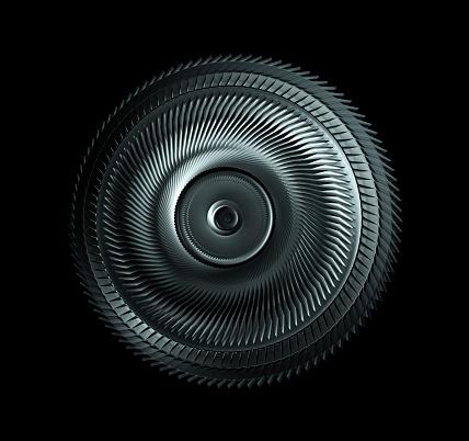 istock Steel Wheel Isolated On Black Background, Industrial Machine Part 1022727074