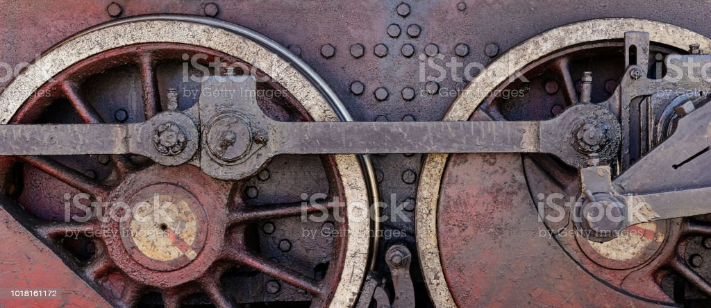 Steel wheels stock photo