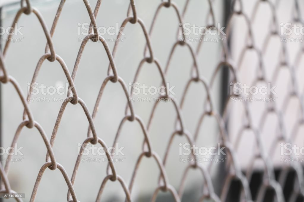 Steel Wire Mesh On Rusty Galvanized In Jail Select Focus With ...