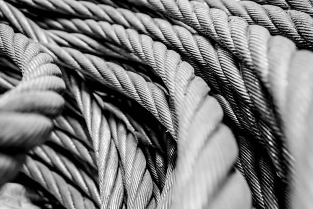 Steel wire mooring rope stock photo