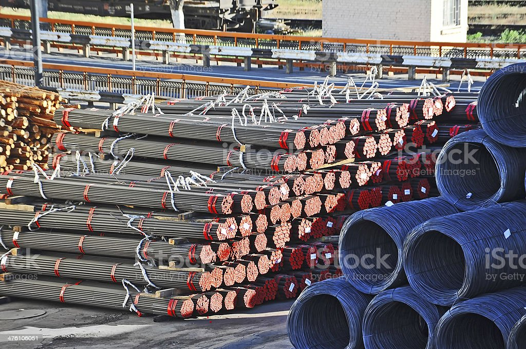 Steel wire roll and pipe royalty-free stock photo