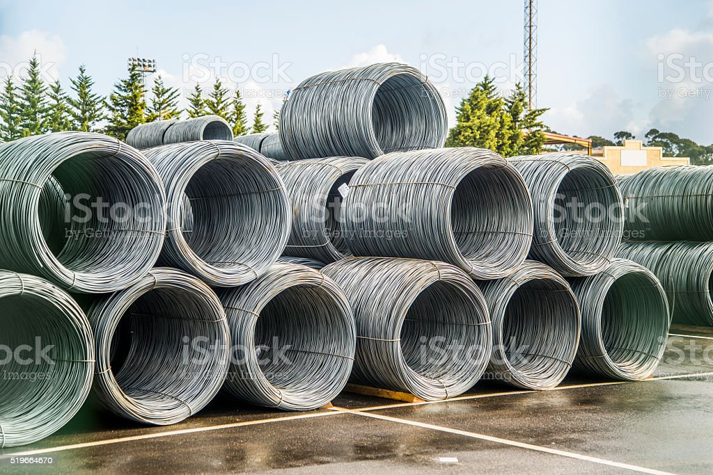 Steel wire rolls stock photo