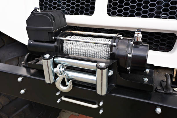 steel wire rope winch car - cable winch stock photos and pictures