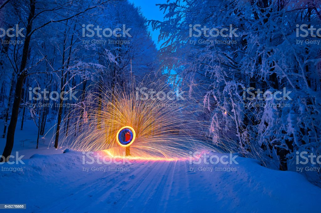 Steel wool light painting in winter on the frozen landscape stock steel wool light painting in winter on the frozen landscape royalty free stock photo aloadofball Image collections