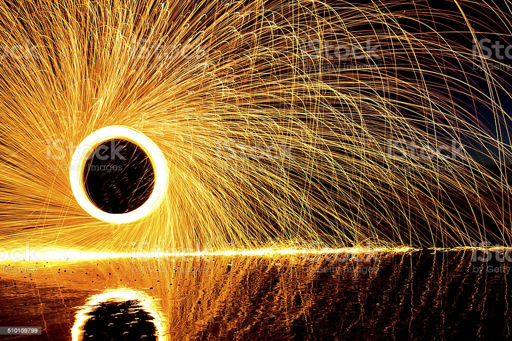 steel wool painting with light stock photo
