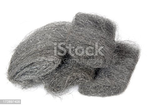 Close up of steel wool on a white background