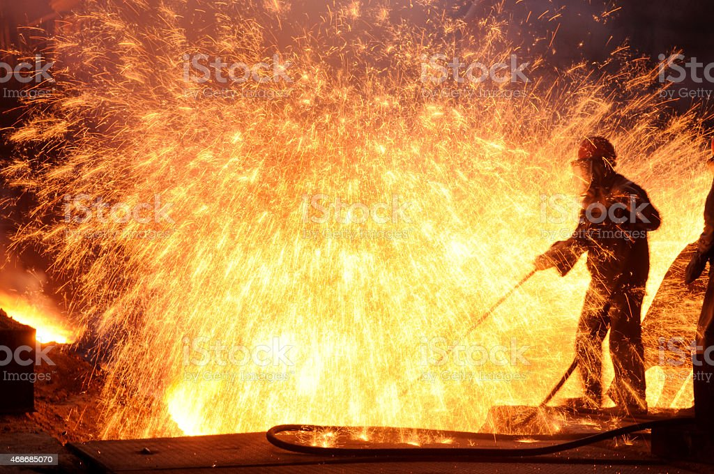 Steel workers stock photo